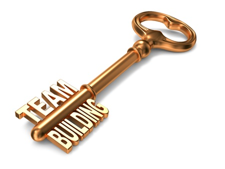 Team Bulding - Golden Key on White Background. 3D Render. Business Concept. photo