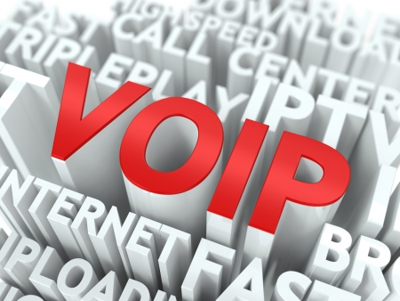 VOIP - Wordcloud Internet Concept. The Word in Red Color, Surrounded by a Cloud of Words Gray. photo