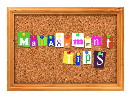 Management Tips Concept Letters Attached to a Cork Bulletin or Message Board with Thumbtacks. 3D Render. photo