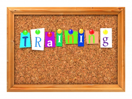 Training Concept Letters Attached to a Cork Bulletin or Message Board with Thumbtacks  3D Render Stock Photo - 22774251