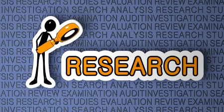 experimentation: Research Concept. Cartoon Character with Magnifying Glass on Blue Background. 3D Render. Stock Photo