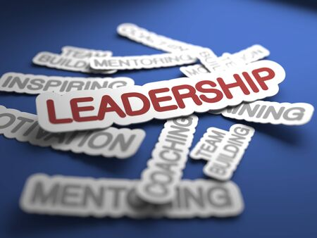 buisnes: Leadership Text on Blue Background with Selective Focus. 3D Render.