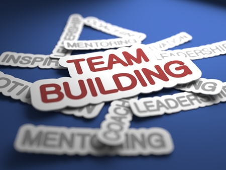 team building: Team Building Text on Blue Background with Selective Focus. 3D Render. Stock Photo
