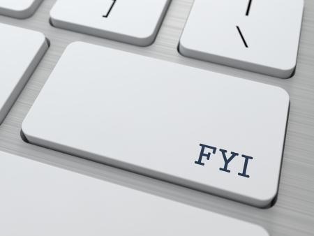 FYI - FIR uw informatie. Internet Concept. Knop op moderne computer toetsenbord.