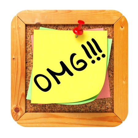 OMG. Yellow Sticker on Cork Bulletin or Message Board. Business Concept. 3D Render. photo