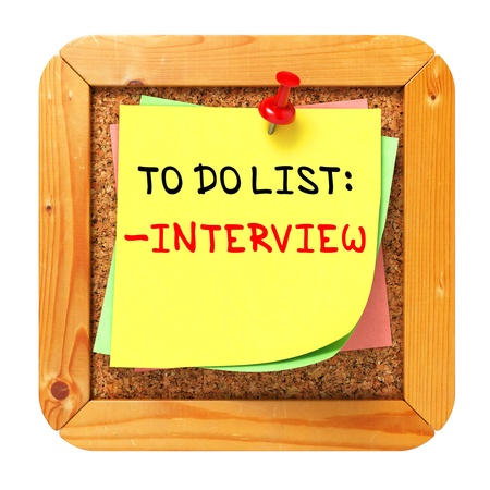 Interview Concept  Yellow Sticker on Cork Bulletin or Message Board  Business Concept  3D Render  Stock Photo - 21362154