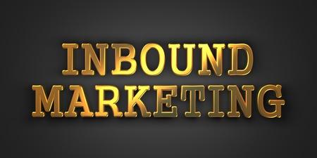 outbound: Inbound Marketing  Gold Text on Dark Background  Business Concept  3D Render