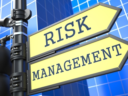 crisis management: Business Concept  Risk Management Roadsign on Blue Background