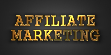 Affiliate Marketing  Gold Text on Dark Background  Business Concept  3D Render  photo