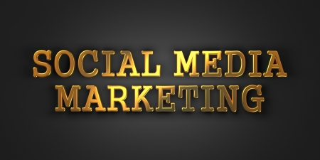 Social Media Marketing  Gold Text on Dark Background  Business Concept  3D Render Stock Photo - 21362187