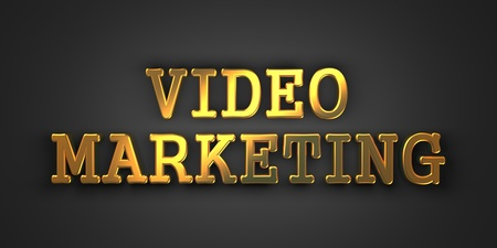 Video Marketing  Gold Text on Dark Background  Business Concept  3D Render  photo