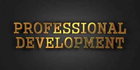 professional development: Professional Development  Gold Text on Dark Background  Business Concept  3D Render  Stock Photo