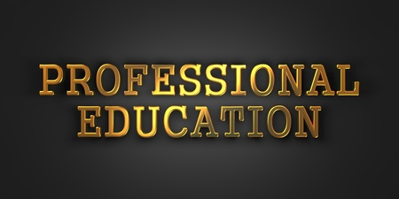 Professional Education  Gold Text on Dark Background  Business Concept  3D Render  photo