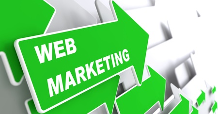 Web Marketing - Internet Concept. Green Arrow with