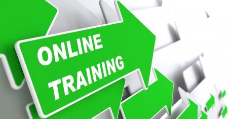 slogan: Online Trainin - Education Concept. Green Arrow with Webinar slogan on a grey background. 3D Render. Stock Photo