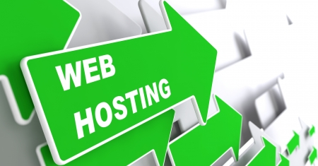 web Hosting - Technology Concept. Green Arrow with