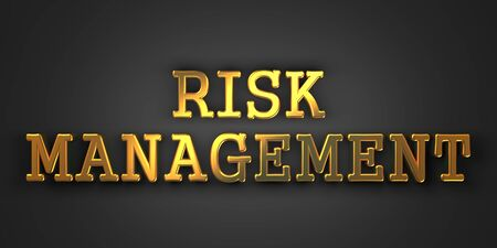Risk Management. Gold Text on Dark Background. Business Concept. 3D Render. photo