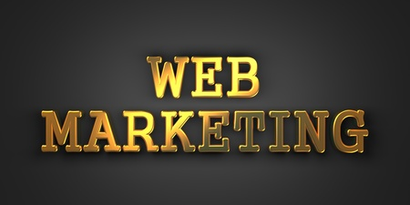 Web Marketing. Gold Text on Dark Background. Business Concept. 3D Render. Stock Photo - 21362209