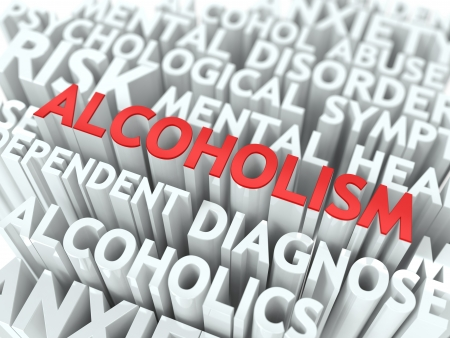 dependance: Alcoholism - Wordcloud Medical Concept. The Word in Red Color, Surrounded by a Cloud of Words Gray. Stock Photo