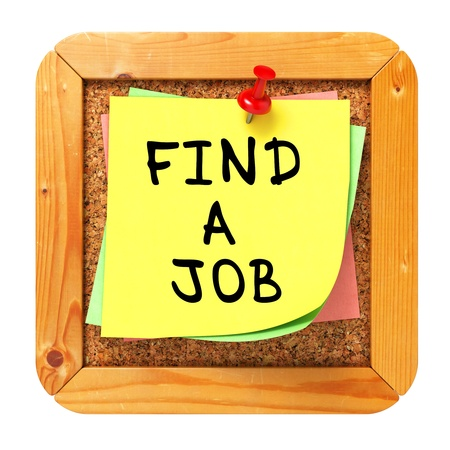 Trouver un emploi, autocollant jaune sur Cork Bulletin Board ou du message. Concept d'affaires. Rendu 3D. photo