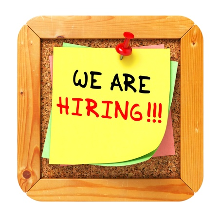 We are Hiring, Yellow Sticker on Cork Bulletin or Message Board. Business Concept. 3D Render. Stock Photo - 21362239