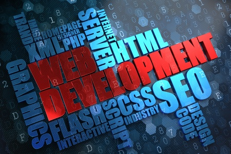 Web Development - Wordcloud Concept. The Word in Red Color, Surrounded by a Cloud of Blue Words. Stock Photo - 21817890