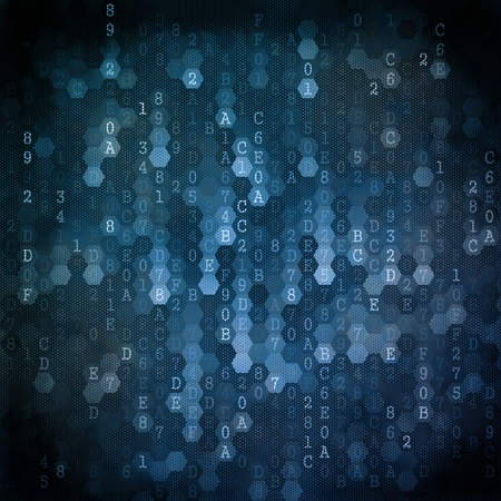 Digital Background. Pixelated Series Of Numbers Of Blue Color Falling Down. Stock Photo - 21817892