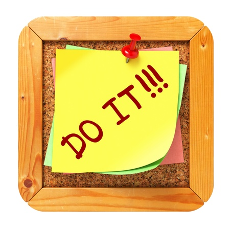 Do It, Yellow Sticker on Cork Bulletin or Message Board. Business Concept. 3D Render. Stock Photo - 21817896