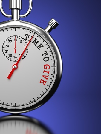fundraiser: Time To Give Concept. Stopwatch with Time To Give slogan on a blue background. 3D Render.