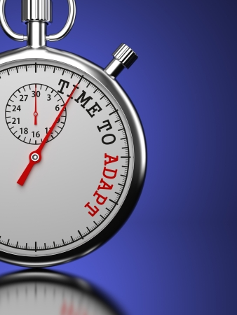 adapt: Time To Adapt Concept. Stopwatch with Time To Adapt slogan on a blue background. 3D Render. Stock Photo