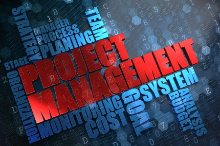 Project Management - Wordcloud Concept. The Word in Red Color, Surrounded by a Cloud of Blue Words. photo