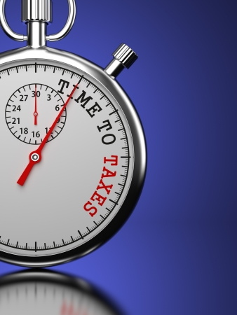 irs: Time To Taxes Concept. Stopwatch with Time To Taxes slogan on a blue background. 3D Render. Stock Photo