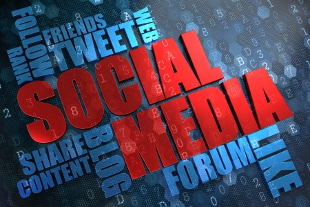 Social Media - Wordcloud Concept. The Word in Red Color, Surrounded by a Cloud of Blue Words. Stock Photo - 21818264