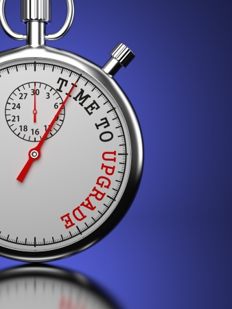 achievement concept: Time To  Upgrade Concept. Stopwatch with Time To Upgrade slogan on a blue background. 3D Render. Stock Photo
