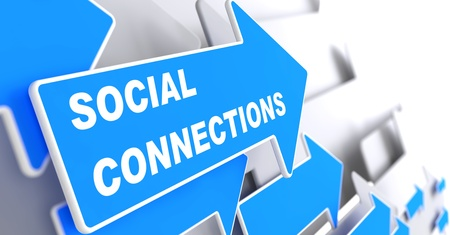 Social Connections - Social Concept.  Blue Arrow with 'Social Connections' slogan on a grey background. 3D Render. photo