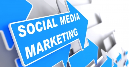 Social Media Marketing.  Business Concept. Blue Arrow with