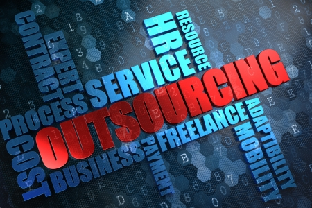 contracting: Outsourcing - Wordcloud Concept. The Word in Red Color, Surrounded by a Cloud of Blue Words.