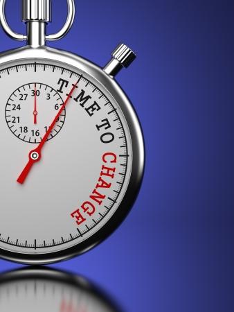 "change concept: Hora de cambiar el concepto. Cron�metro con ""Time To Change"", lema sobre un fondo azul. Render 3D."