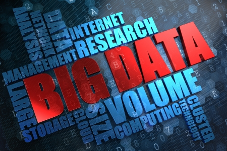 wort: Big Data - Wordcloud Concept. Das Wort in rote Farbe, durch eine Wolke von Blue Wörter umgeben.
