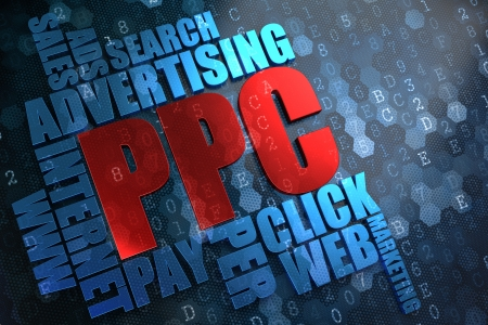 banner ads: PPC - Wordcloud Concept. The Word in Red Color, Surrounded by a Cloud of Blue Words. Stock Photo