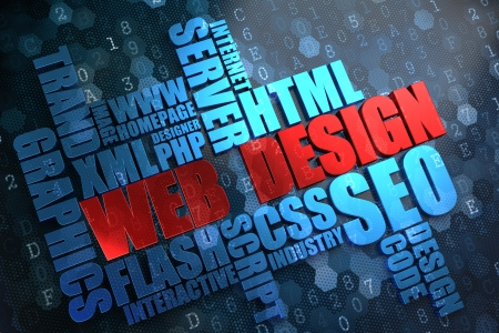 Web Design - Wordcloud Concept. The Word in Red Color, Surrounded by a Cloud of Blue Words. Stock Photo - 21818476