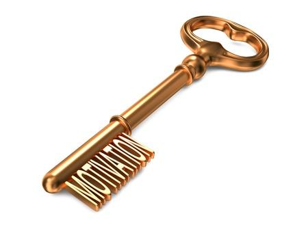 physiological: Motivaci�n - La llave de oro sobre fondo blanco. Render 3D. Concepto de negocio.