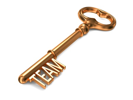 leadership key: Team - Golden Key on White Background. 3D Render. Business Concept. Stock Photo