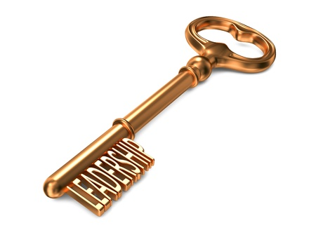 leadership key: Leadership - Golden Key on White Background. 3D Render. Business Concept. Stock Photo