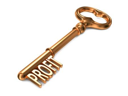 profitability: Profit - Golden Key on White Background. 3D Render. Business Concept.