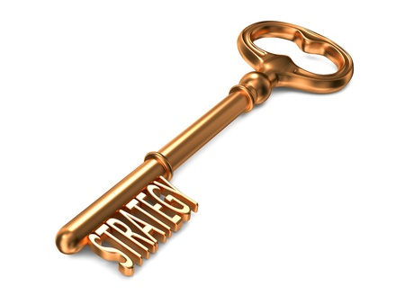 profitability: Strategy - Golden Key on White Background. 3D Render. Business Concept. Stock Photo