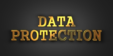 Data Protection. Gold Text on Dark Background. Information Concept. 3D Render. photo