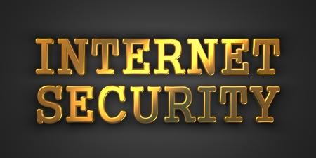 Internet Security. Gold Text on Dark Background. Information Concept. 3D Render. Stock Photo - 21977079