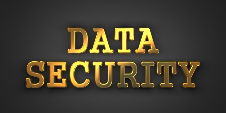 Data Security. Gold Text on Dark Background. Information Concept. 3D Render. photo