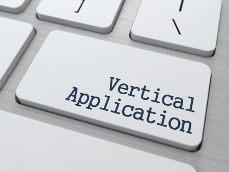 narrowly: Vertical Application - Technological Concept. Button on Modern Computer Keyboard.